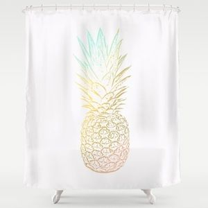 [Society6] Ombre Gold Pineapple Shower Curtain